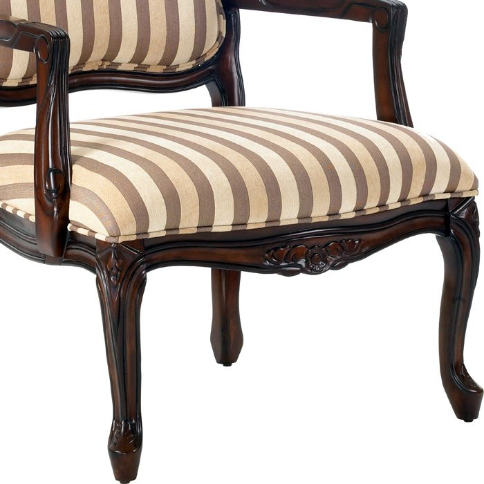 Hayward striped chenille accent chair dcg stores for Striped chairs living room