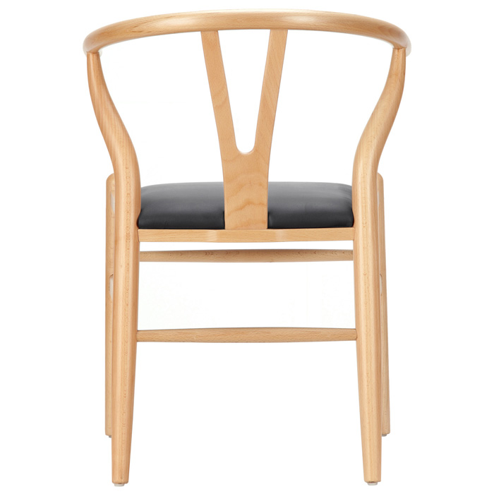 Amish Wishbone Y Chair Natural Frame Black Seat