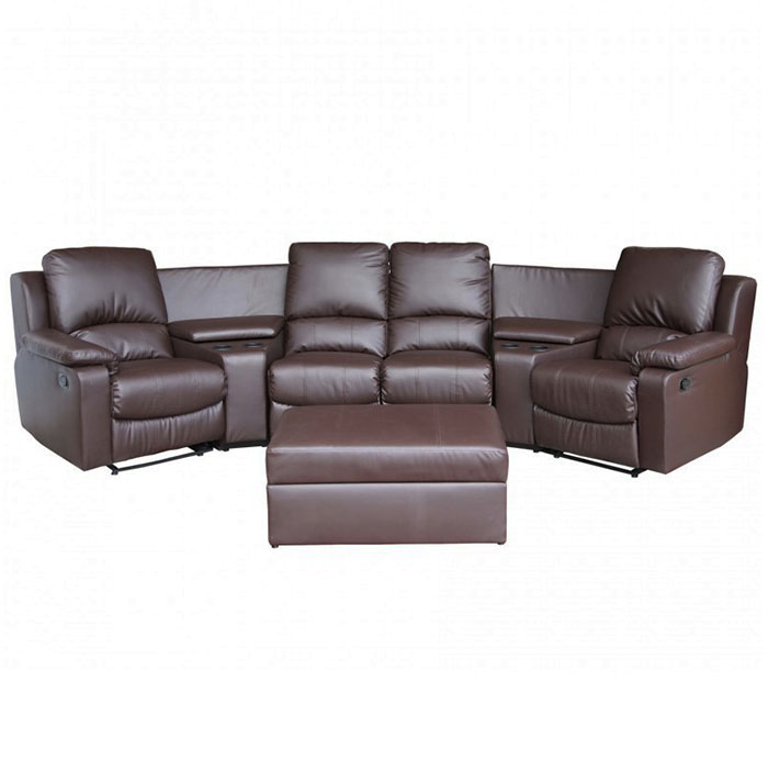 Primetime 7 Piece Brown Leather Home Theater Seating Dcg Stores