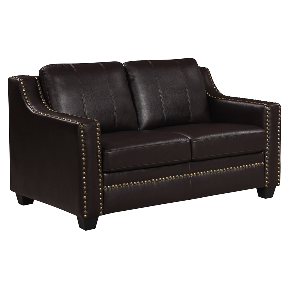 Leather Sofa Set In Agnes Walnut With Nailhead Trim Dcg Stores
