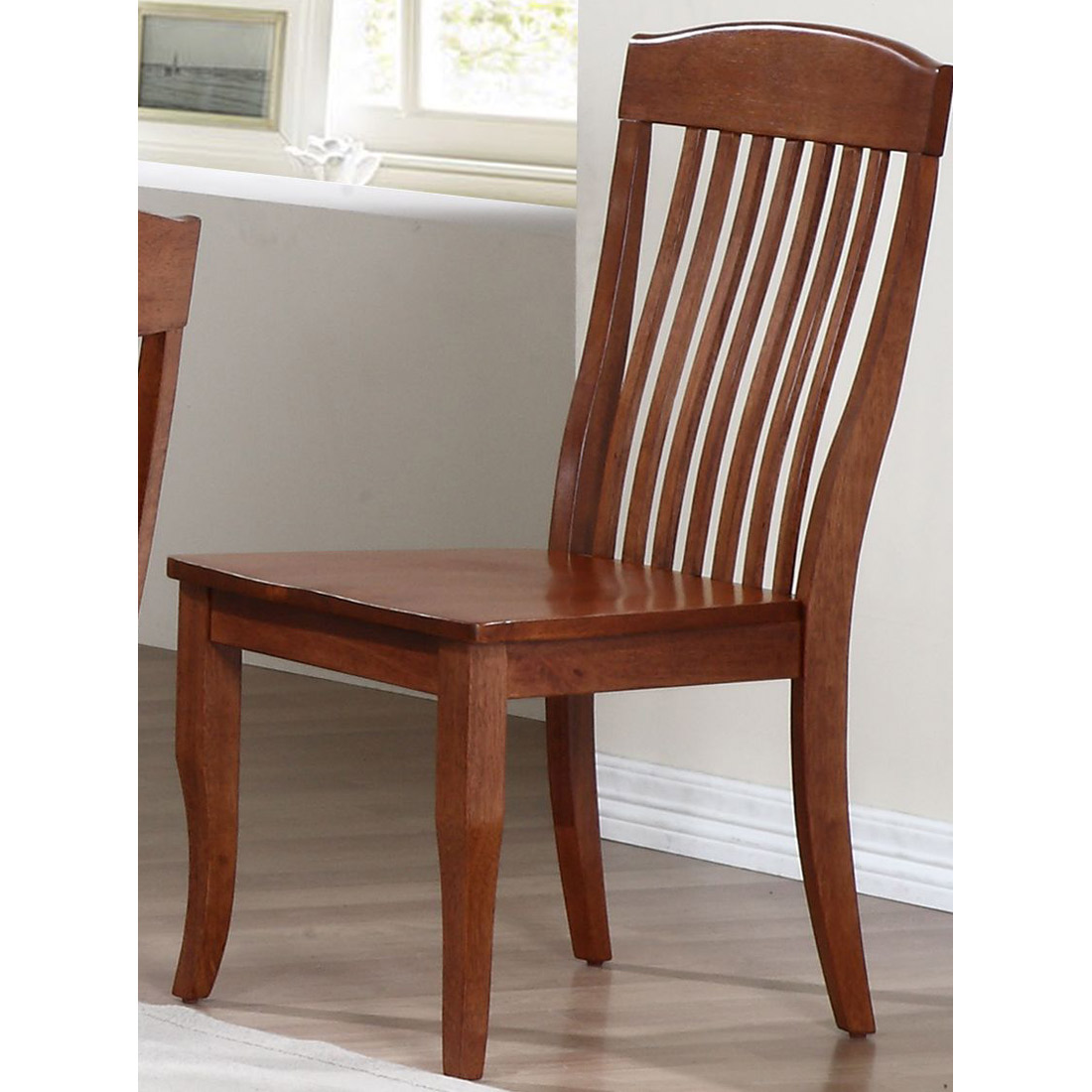 Slatted Back Chairs ~ Belga side chair slat back cinnamon finish dcg stores