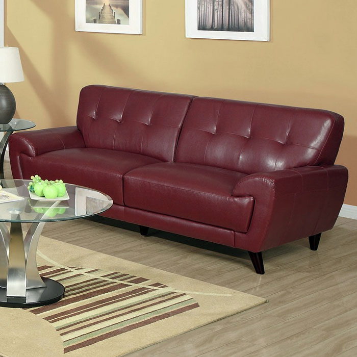 Eugene Modern Sofa Flared Arms Red Leather Dcg Stores