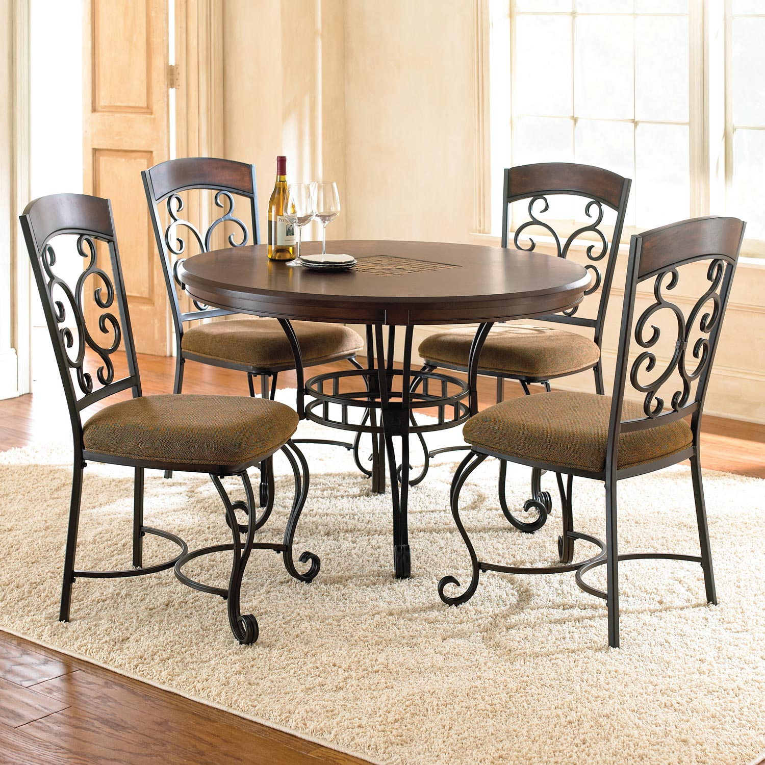 Wrought Iron Kitchen Chairs: Wood, Wrought Iron, Brown Fabric (Set
