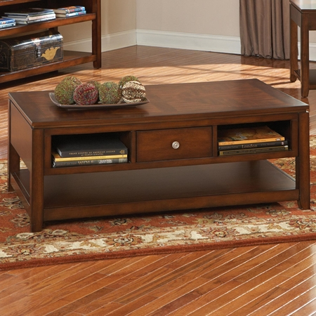 Bolivar Wooden Coffee Table Storage Drawer Cherry Finish Dcg Stores
