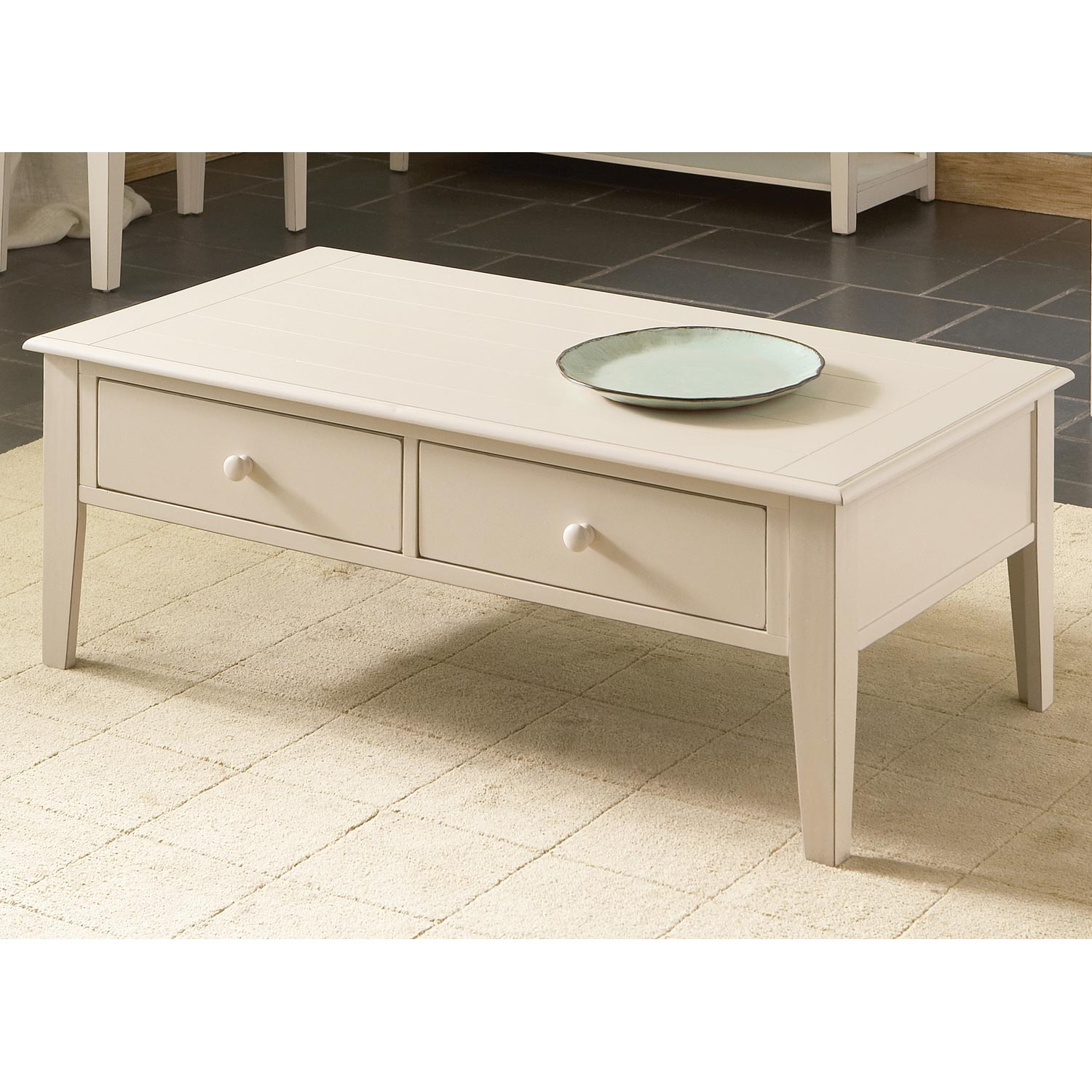 Eva Cottage Style Coffee Table 2 Drawers White Dcg Stores