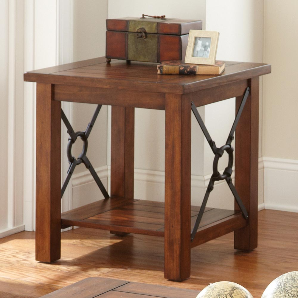 Rosewood Rustic End Table  Metal Accents, Chestnut Finish  DCG