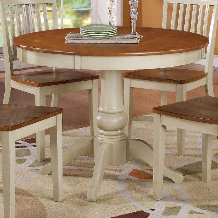 Candice round wooden dining table antique white amp oak dcg stores