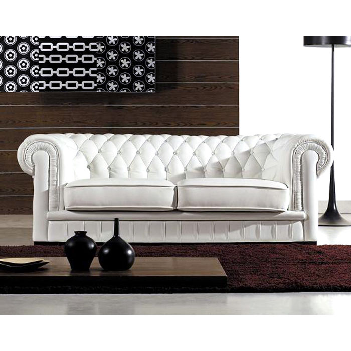 Paris Transitional Tufted White Leather Sectional Sofa: Paris Elegant 3 Piece Tufted Leather Sofa Set