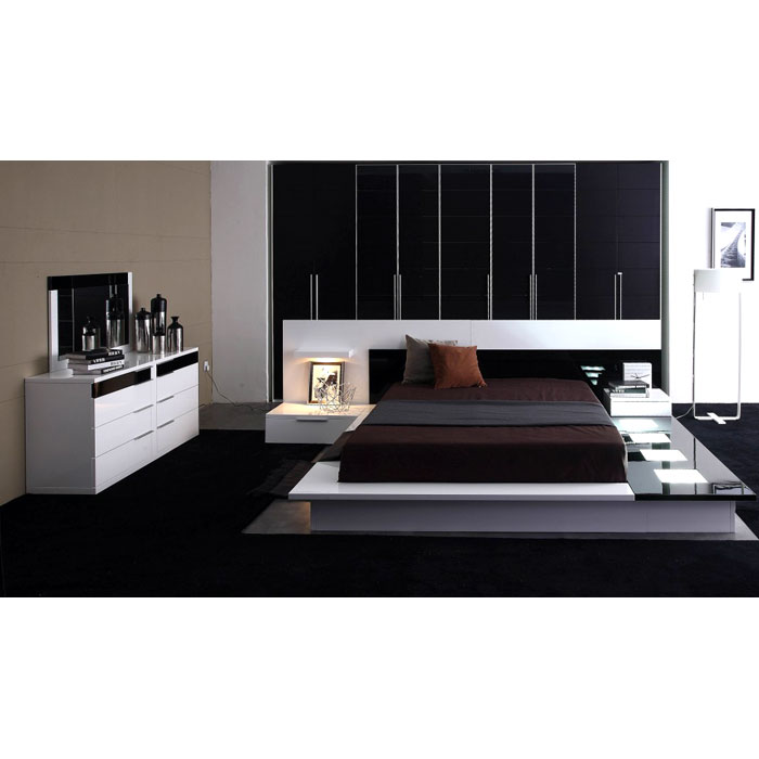 Impera Modern Black and White Lacquer Bedroom Set