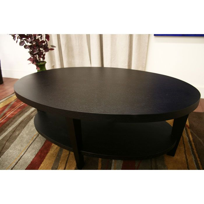 Charleston Modern Black Wood Oval Coffee Table Dcg Stores